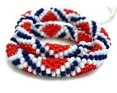 Flag Bangle Bead Crochet Bracelet Stars & Stripes Series StarCrossed Red White Blue Patriotic Heirloom Quality Handmade Seed Beaded Rope