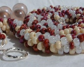 Wedding Necklace Bead Crochet Rope Fantasia Heart in White Cream Brick Red Crimson Seed Beaded Bride Jewelry