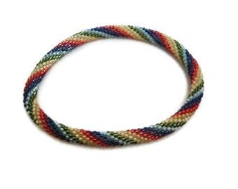 Bead Crochet Bangle Bracelet Chakra Rainbow Twist Artisan Seed Beaded Rope 7 Seven Chakras