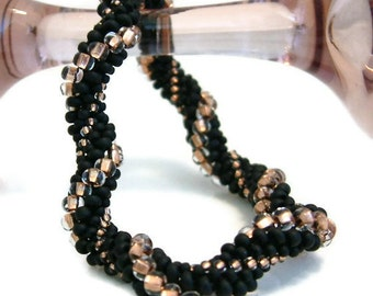 Bead Crochet Bracelet Swing in Black Copper Gold  Heirloom Quality Handmade Seed Beaded Rope Bangle