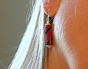 Bead Crochet Earrings Spiral in Black & French Brick Red Artisan Seed Beaded Rope