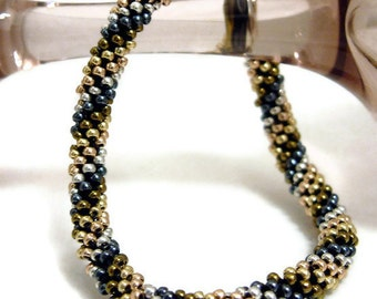 Shiny Metallic Bead Crochet Bracelet SuperBling in Gunmetal Black Bronze Gold Copper Platinum Silver Seed Beaded Bangle