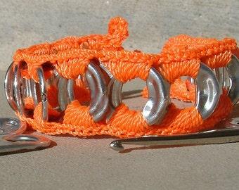 ReCycladelic Pop Tab Bracelet  Day-Glo Orange Soda Can Pop Top Tie-On Bracelet