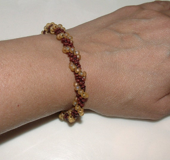 Bead Crochet Bracelet Bangle Amber Waves in Brown and Amber Handmade Seed Bead Crochet Rope