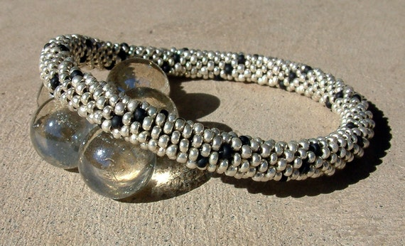 Wedding Bead Crochet Bracelet Silver Spiral in Black and Platinum Silver Beaded Rope Bangle
