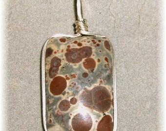 Unique Spotted Jasper Pendant in Silver