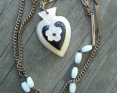 Valentine Necklace  //  repurposed upcycled victorian antique hand carved heart flower jet mother of pearl gold