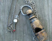 Declaration Necklace  //  repurposed antique long rosary red white silver wooden hand carved whistle