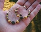 Vintage gold beaded hoop earrings. Wood beads. Tan, brown, rose engraved metal beads. Lightweight. Women's gift.