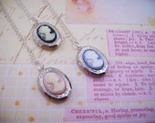 LAST ONE. One cameo locket necklace in your choice of pink or blue. Everyday wear jewelry. Silver. Victorian. For a classic woman.