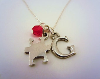 Autism jewelry. Puzzle piece necklace. Custom initial charm. Pick your own colors. Custom autism necklace. Charm necklace.