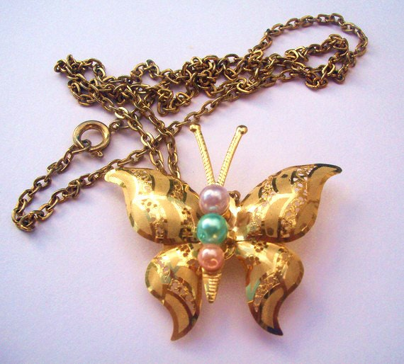 Long gold necklace. Upcycled vintage butterfly pin. Pastel pink, green faux pearl. OOAK gift.