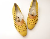 Vintage shoes / yellow perforated dots Bruno Magli / size 37.5-38 / 7-7.5