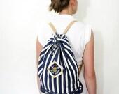 Vintage sailor canvas backpack.
