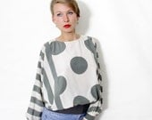 Vintage blouse. dots and stripes neutral top. SML