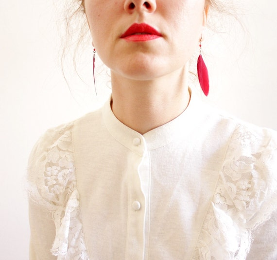 Vintage dress. snow white 1970s long sleeve. size S/M
