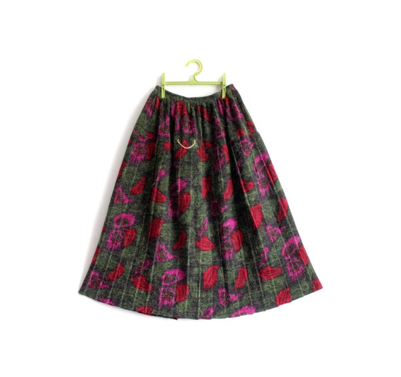Vintage skirt / fall wooly olive red pink pleated / size SML