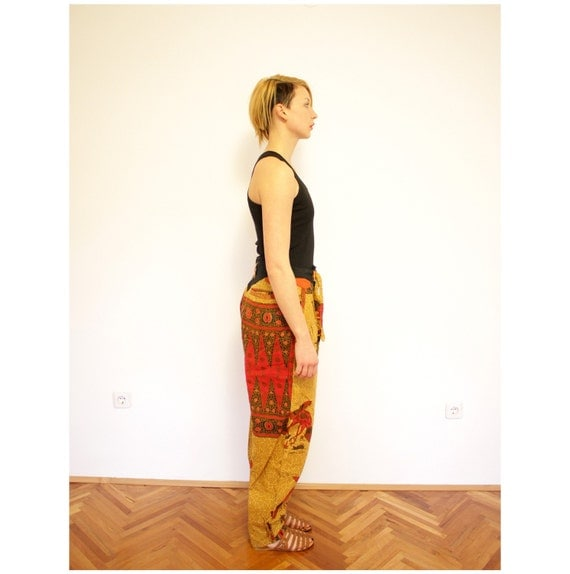 Vintage pants / ethnic rooster fight print / size M-L