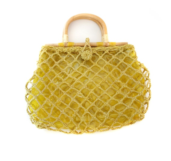 Vintage handbag / clear and woven yellow tote