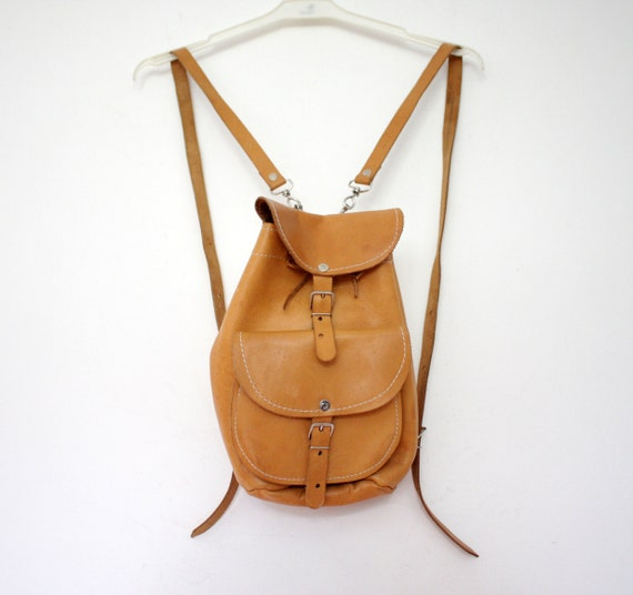 Vintage backpack. small tan leather rucksack.