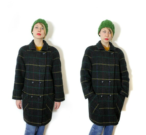 Vintage jacket / 1980s gray checked wool pea coat / size L