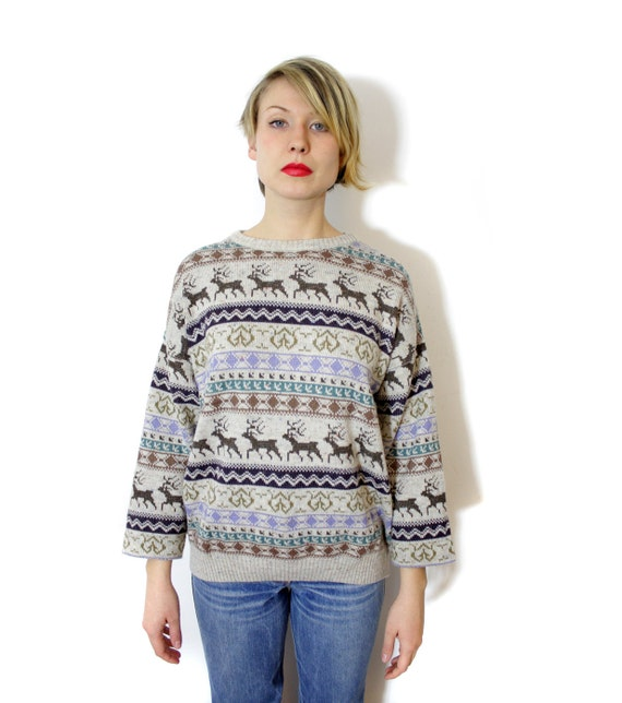 Vintage sweater / deer fair isle gray brown purple green knit / size L