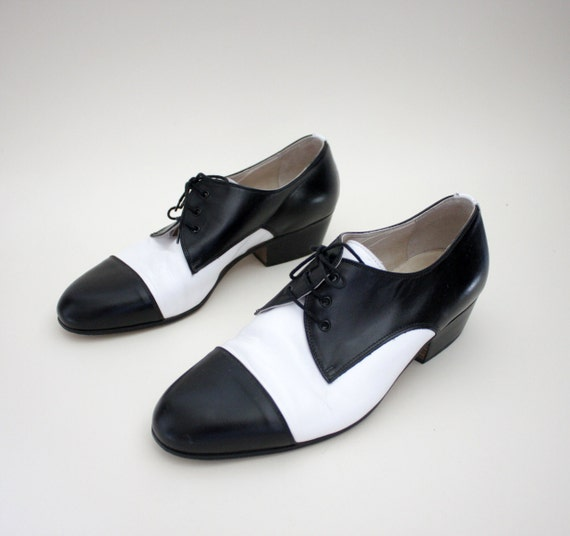 vintage shoes black and white tuxedo mens oxfords size 42 9