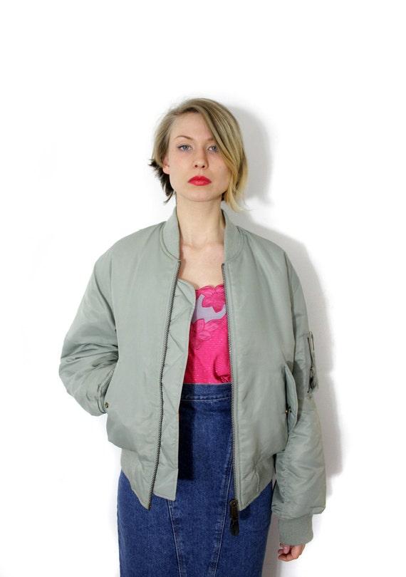 Vintage jacket / varsity grayish green and orange bomber reversible unisex