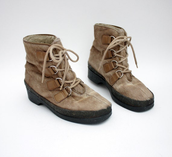 Vintage boots / brown fur and leather apre ski / size 37-7