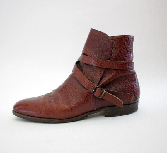 r e s e r v e d for louan Vintage boots / 70s Fratelli Rossetti mens ankle low riding boots / size 10 mens