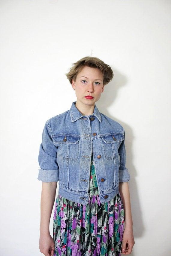 Vintage jacket / Valentino crop jean jacket / size S-M