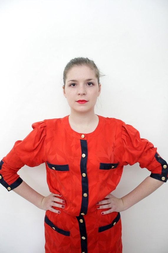 Vintage dress / sailor navy and red silk dress / size M