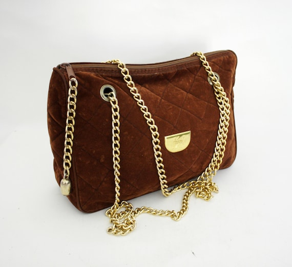 Vintage purse. brown velvet quilted gold chain strap bag.