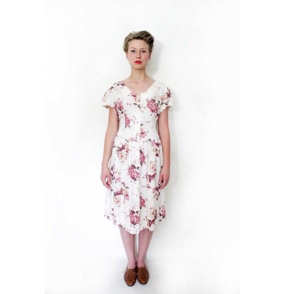r e s e r v e d for juliaannata Vintage dress / 80s floral scallop day dress / size L
