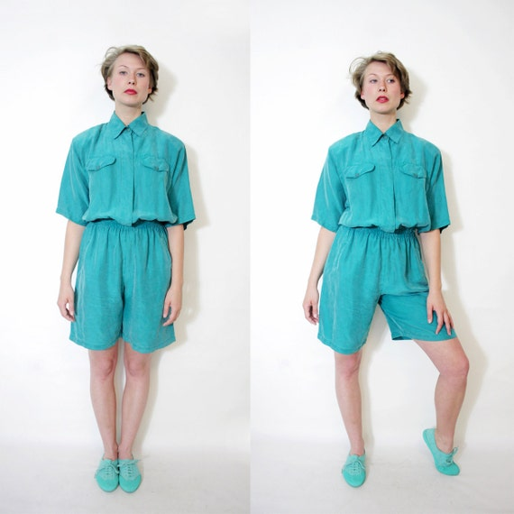 Vintage green silk jumpsuit / size M