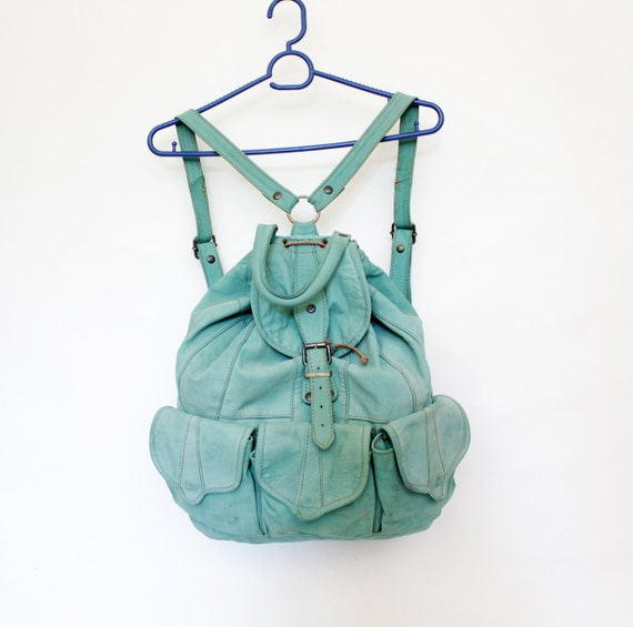 Vintage backpack. mint leather rucksack.