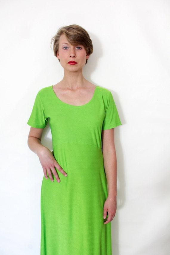 ON SALE Vintage dress / neon green long dress / size M-L