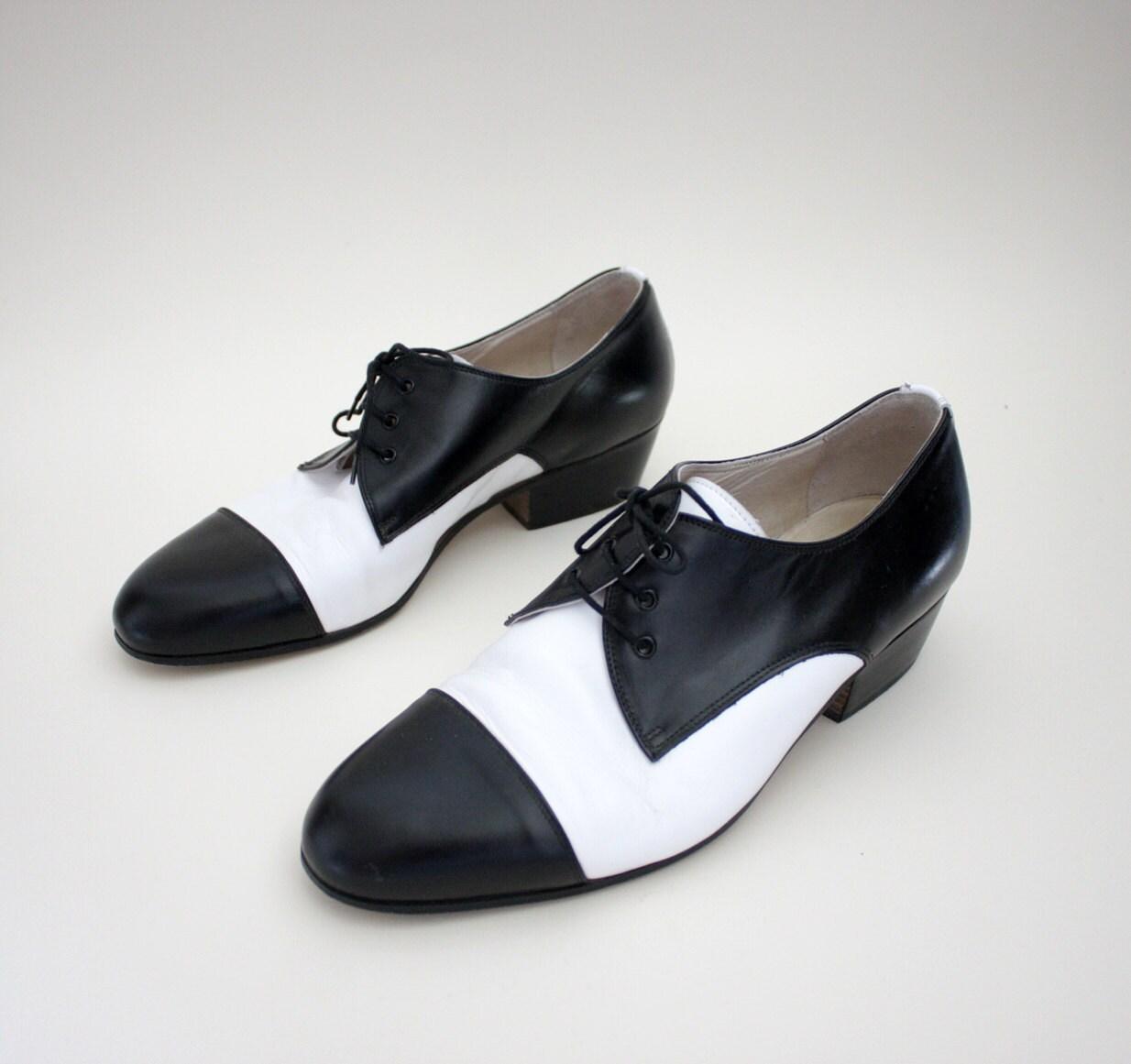 vintage shoes black and white tuxedo mens oxfords size 42 9