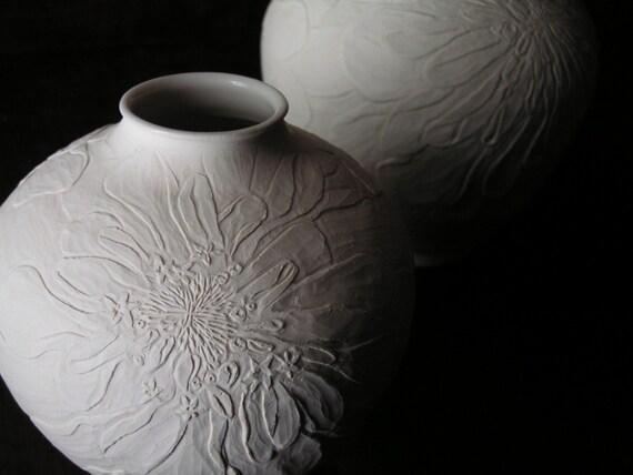 White Dahlia Vase (Small)
