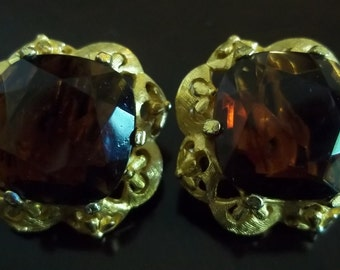 Vintage Fiorenza Clip On Earrings, Cola Brown Glass