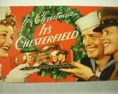 1940s Christmas CHESTERFIELD Cigarette Carton, WW II