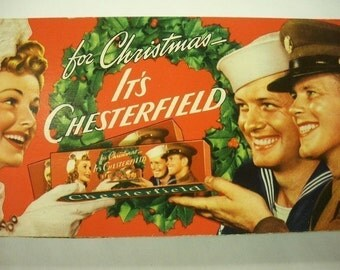 1940s Christmas CHESTERFIELD Cigarette Carton, WW II