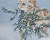 Golden Retriever art CANVAS print of LA Shepard painting 8x8 dog winter scene