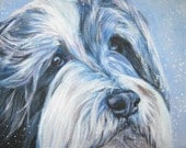Bearded Collie art CANVAS print of LA Shepard painting 8x10 beardie dog portrait