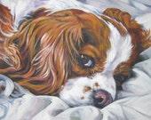 Cavalier King Charles Spaniel dog art CANVAS print of LA Shepard painting 12x16 blenheim