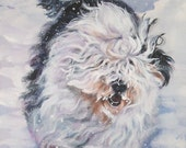 Old English Sheepdog dog art CANVAS print of LA Shepard painting 12x16