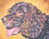 American Water Spaniel dog art portrait CANVAS print of LA Shepard painting 11x14