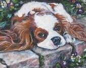 Blenheim Cavalier King Charles Spaniel dog art CANVAS art print of LA Shepard painting 12X16