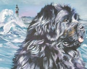 Newfoundland dog portrait CANVAS print of LA Shepard painting 12x16 dog art