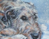 Irish Wolfhound art print CANVAS print of LA Shepard painting 12x12 dog art